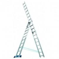 Лестница, 3х10 ступеней, алюминиевая, трехсекционная 97783