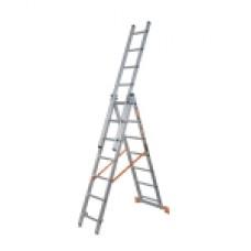 Лестница, 3х7 ступеней, алюминиевая, трехсекционная 97780